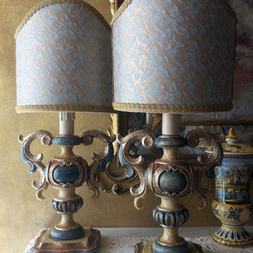 Pair of Vintage Handcrafted Antique Finish Silver Gilt and Polychromed Carved Wood Table Lamps with Fortuny Fabric Lamp Shades