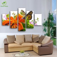 Modern Butterfly On The Wall Flower Painting Canvas