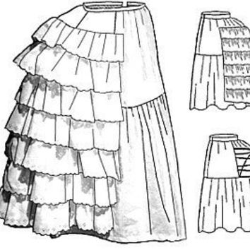 Truly Victorian Petticoat w/wired Bustle Sewing Pattern by 1aokgal