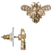 Women's Bee Stud Earring with Pave Accents - Antique Gold