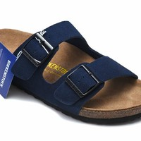 Men's and Women's BIRKENSTOCK sandals Arizona Soft Footbed Suede Leather 632632288-090