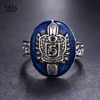Size 9  Vintage Vampire Diaries Rings Salvatore Stefan s Finger Family Crest Ring Lapis Lazuli Ellipse Sapphire Ring