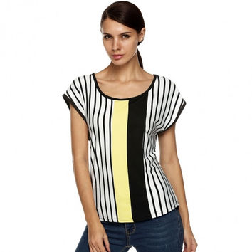Stylish Ladies Women Casual O Neck Cap Sleeve Loose Stripe Patchwork Thin T-Shirt