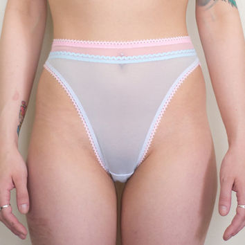 Sweet Tooth Sheer High Waisted High Leg Panties - Pantone Rose Quartz & Serenity