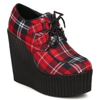 Plaid Lace Up Platform Punk Goth Wedge Bootie Women's Shoes