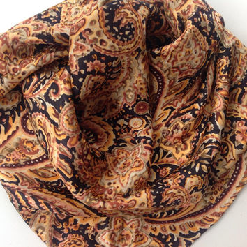 Paisley Silk scarf, Floral Silk Satin bandana, Men pocket kercheif, Assorted paisley print scarf, Holiday gift for him