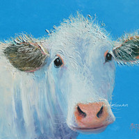 Cow painting, Animal Art, Kitchen painting, Animal Painting, White cow, interior design,wall art,home decor, Etsy nursery art, by Jan Matson