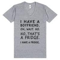 boyfriend fridge v neck tee-Unisex Athletic Grey T-Shirt