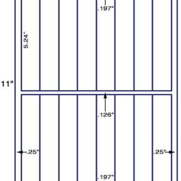 "US3377 - 1'' x 5.24'' - 16 up label on a 8 1/2"" x 11"" label sheet."