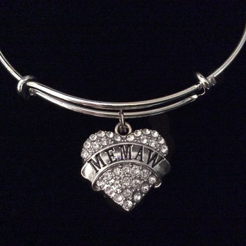 Memaw Silver Crystal Heart Charm Bangle Adjustable Expandable Meaningful Gift Grandmother Gift