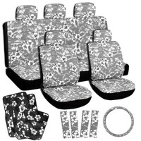 OxGord 17pc Hawaiian Flat Cloth Seat Cover Carpet Floor Mat Set for Car/Truck/Van/SUV,