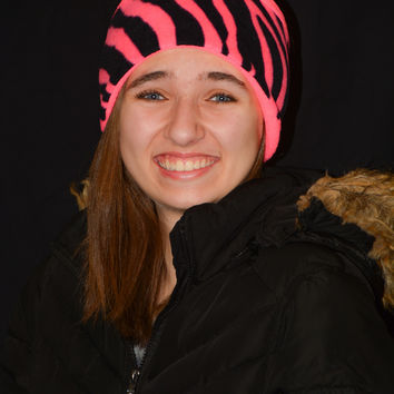 Fleece Ear Warmer / Head Band / Hair Band - Zebra Pattern