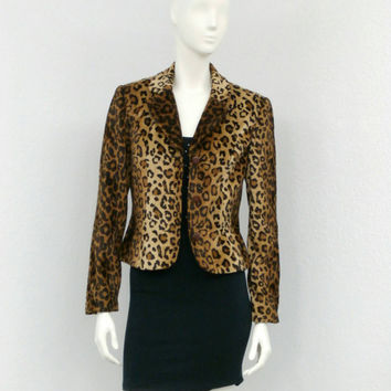 Vintage 90s Faux Fur Jacket, Leopard Print Jacket, Cropped Jacket, Blazer Jacket, Fitted Jacket, Faux Fur Coat, Fitted Blazer, Animal Print