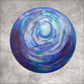 Star Factory - large cosmic painting on circular canvas, 100cm diameter