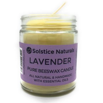 Lavender 100% Pure Beeswax Aromatherapy Candle