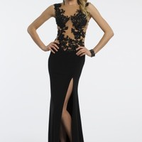 Jersey Lace Dress with Illusion Back and Side Slit