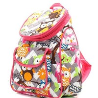Quilted Owl Chevron Backpack Hp