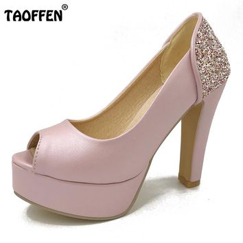 TAOFFEN women peep open toe high heel shoes stiletto candy color platform female heeled sexy pumps heels shoes size 32-43 P17939
