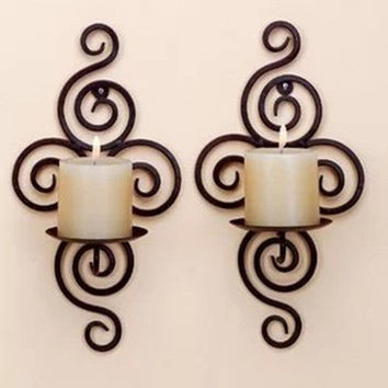 2Pcs/Lot Wedding Decoration Iron Pastoral Style Wrought Iron Candle Holders Wall Candlestick Home Decoration