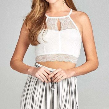Ladies fashion heart neckline halter neck open back lace crop top