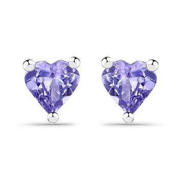 Naturally Mined Heart Cut Tanzanite Stud Earrings