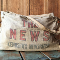 Vintage Newspaper Delivery Bag, The News Kenoshas Newspaper Mail Bag, Messenger Bag, Paperboy Bag, Kenosha, Wisconsin
