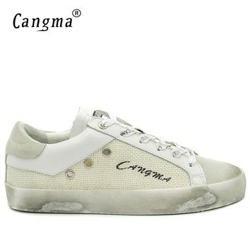 CANGMA Original Luxury Casual Vintage Men Shoes White Basse Cow Suede Leather Hemp Handmade Leisure Shoes Merk Schoenen 34-48