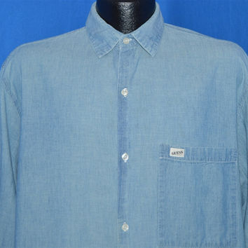 80s Light Blue Chambray Button Down Shirt Large