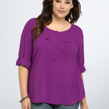 Challis Pocket Pullover Blouse