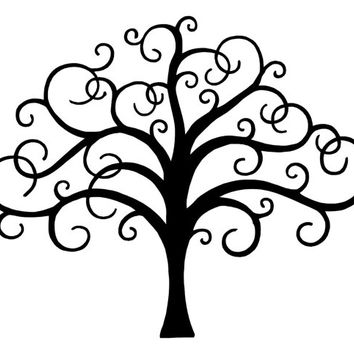 Scroll Branches Tree  Bendable Stencil