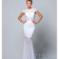 White Ruche Illusion Dress