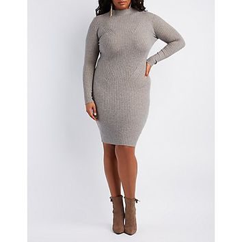 Ribbed Mock Neck Bodycon Dress | Charlotte Russe