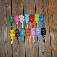 "Bright Whimsical ""OWL"" Wall Hooks by AquaXpressions"