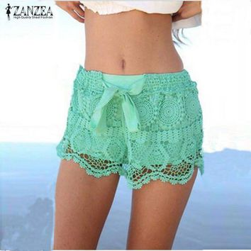 PEAPGC3 Zanzea Summer Style Shorts 2016 Fashion Women Casual Lace Drawstring Hollow Out Shorts Solid Beach Hot Shorts Plus Size