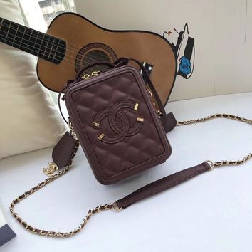 Kuyou Gb99822 Chan 19 New Mini Vanity Case In Burgundy Grained Leather With Leather Chain Strap 17x13x7cm