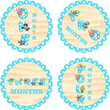 Monthly Baby Milestone Stickers Sea Life Fish Ocean Gender Neutral Baby Shower Gift One-Piece Baby Stickers Monthly Baby Stickers