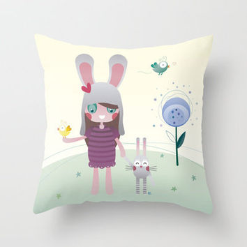 Friendship Throw Pillow by Esther Ilustra