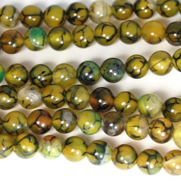 Olive Green Dragon Vein 6mm Round Agate  -15 inch strand