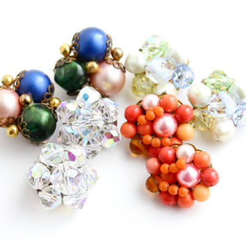 Vintage Beaded Clip On Earring Lot -4  Pairs of Glass & Lucite Costume Jewelry Signed Laguna, Japan...  / Colorful Clusters