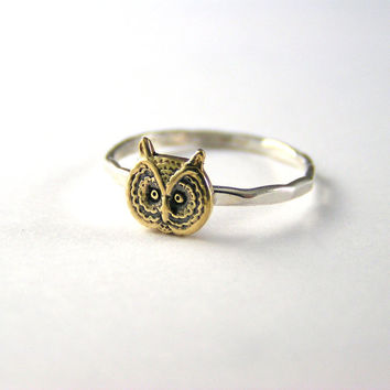 Sterling Silver Brass Barn Owl Ring