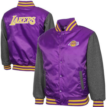 Majestic Los Angeles Lakers Youth Hardwood Classics Hook Full Button Satin Jacket - Purple/Charcoal - http://www.shareasale.com/m-pr.cfm?merchantID=7124&userID=1042934&productID=522026413 / Los Angeles Lakers