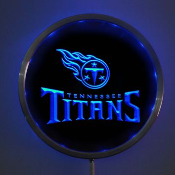 rs-b0061 Tennessee Titans LED Neon Round Signs 25cm/ 10 Inch - Bar Sign with RGB Multi-Color Remote Wireless Control Function