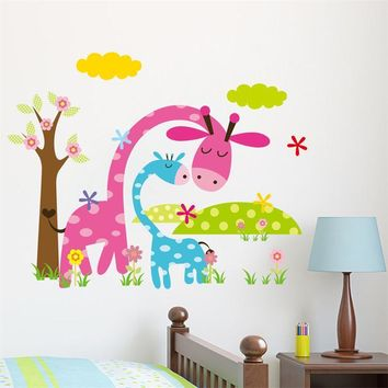 *  Cartoon Animal Forest Wall Stickers decals for Nursery and kids room Home decor 3d Wall Stickers For Kids Room home decor