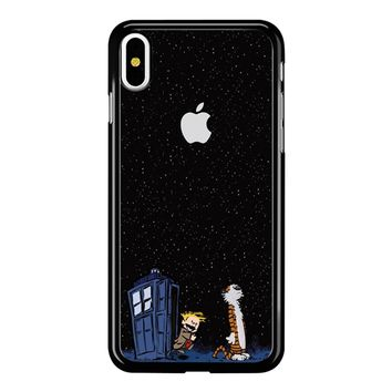 Calvin And Hobbes Apple Tardis iPhone X Case