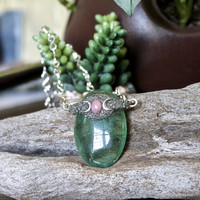 Fluorite Necklace w/ Rhodonite, Triple Goddess, Green Fluorite Jewelry, Triple Moon Necklace, LUNA Crescent Moon Jewelry, Raw Wiccan Jewelry
