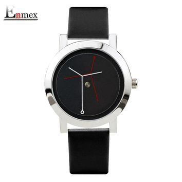 2017  Enmex creative design neutral wristwatch branch concept brief silver black simple face nature fashion quartz lady watches