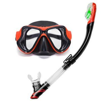 Professional Diving Mask Set Adult Flexible Comfort Swimming Dry Snorkel Breathing Tube Scuba Silicone Diving Mask Water Sports