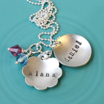 2 name necklace personalized hand stamped 925 sterling silver charms with Swarovski birthstones gift for mom or grandma mommy jewelry