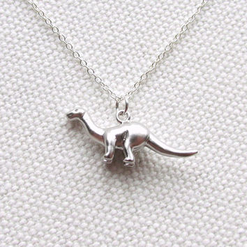 Brontosaurus Necklace Sterling Silver Chain Silver Dinosaur Jewelry Quirky Everyday Charm Necklace