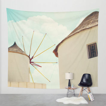 Art Tapestry Wall Hanging Windmill Villa Santorini Greece 2 Photography Unique home decor blue sky photo photograph tan brown geometric line